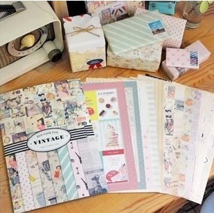 stationary  vintage wrapping paper set decoration paper stickers scrapbooking /scrapbook stickers/post it /14 sheet /1 set
