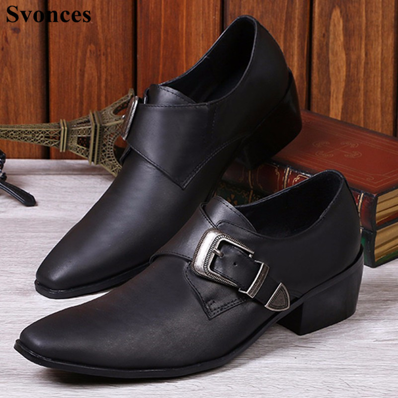 c4d683a0fc Fashion Trends Zapatos Oxfords Black Soft Leather Pointed Toe Men Dress  Shoes Metal Buckle Chunky Heels ...
