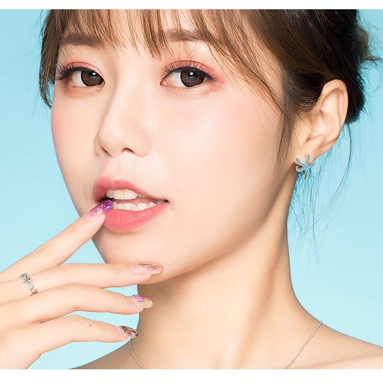 HTB1fEtOaRWD3KVjSZFsq6AqkpXaA bamoer Starfish Stud Earrings for Women Genuine 925 Sterling Silver Fashion Blue Earings Studs Korean Design Jewelry BSE136