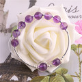 Women Fresh Style 8mm Natural Purple Crystal Silver Charm Bracelets Ladies Elegant Crude Amethyst Fine Jewelry Beaded Bracelet