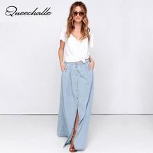 Queechalle Spring Summer Long Skirt S-XXXL big size Women Skirts Solid blue color split denim skirt Empire Waist Cotton Skirt