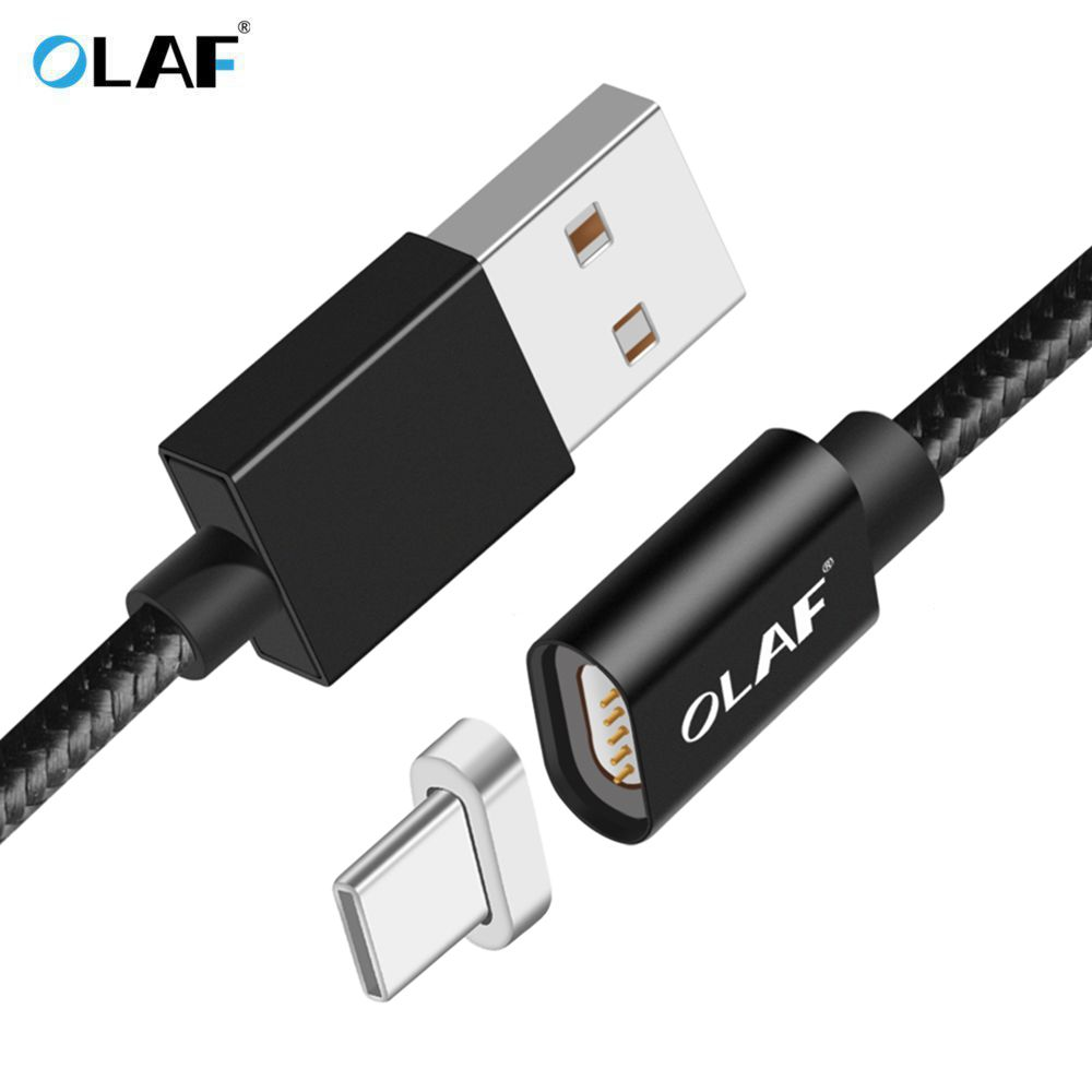 OLAF Magnetic Cable USB Type C Micro USB Cable Nylon Braided LED Indicator Data Sync Magnet Charger Cable For iphone X 8 7 Plus