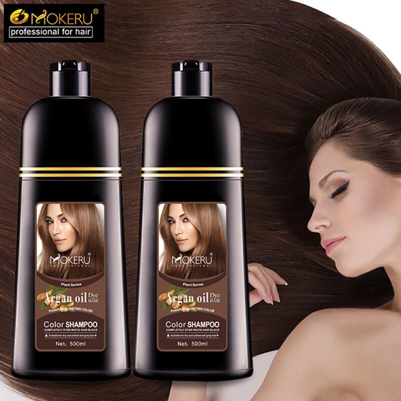 Mokeru 1pc 500ml Natural Organic Permanent Brown Hair Dye Long Lasting Argan Oil hair Dye Shampoo For Woman Hair Color Dye 2