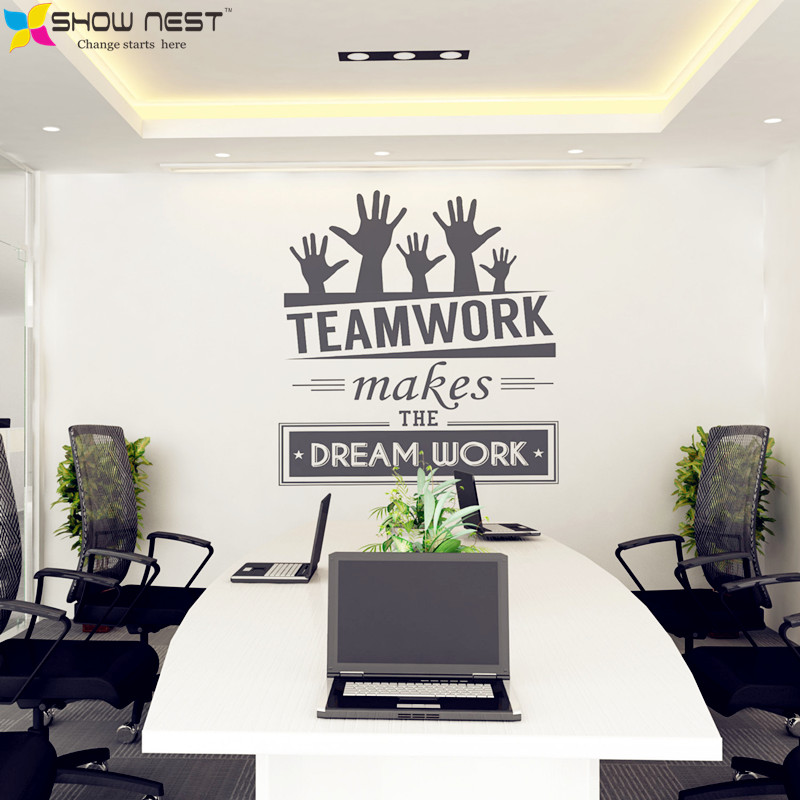 office wall stickers vinyl decal art office mural decor office sticker teamwork makes the. Black Bedroom Furniture Sets. Home Design Ideas