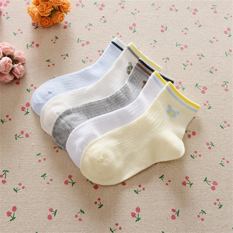 0-12Years Children Socks Summer Mesh Breathable Baby Boys Sport Sock 5pairs/Lot Stripe Cotton Girls Ankle Hose Anklets Kids Sox 4