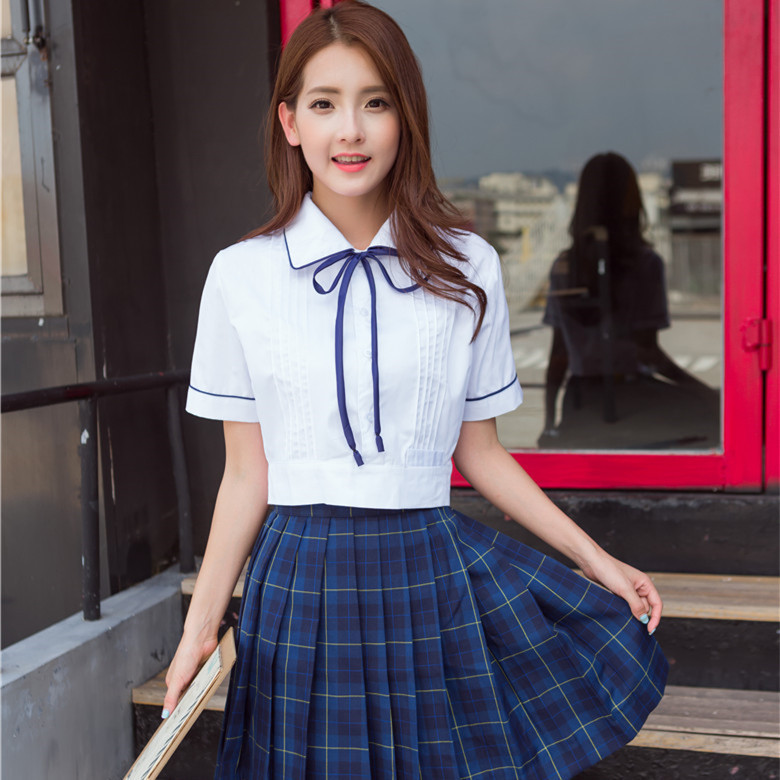 Girls School Uniform Top And Skirt Short Sleeve College Suit Students School Wear 2pcs JK Uniform Female Students Wear D-0191