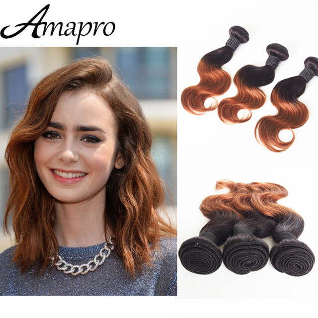 Amapro Hair Products 3pc 10inch Human Hair Ombre Colored Two Tone