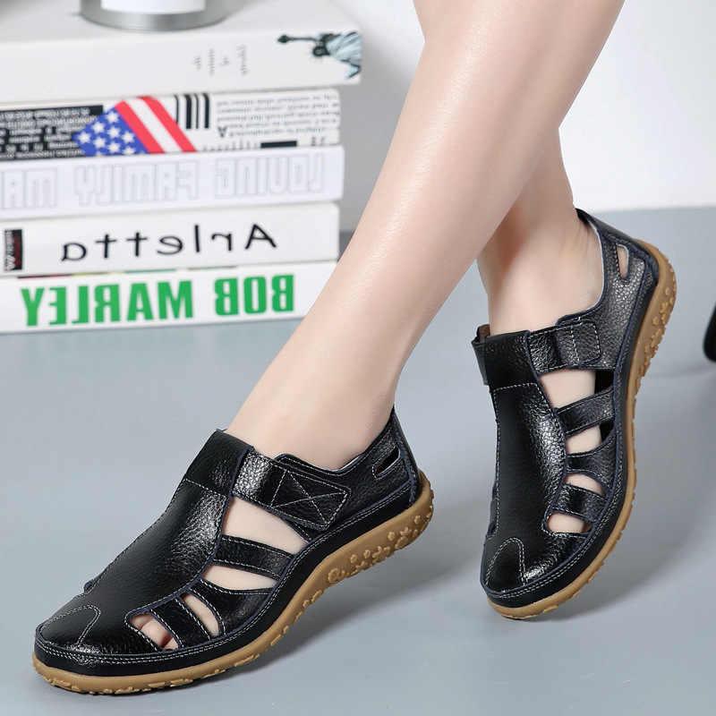 ผู้หญิงรองเท้าแตะ Gladiator แยกหนังฤดูร้อนรองเท้าผู้หญิงรองเท้าแบนรองเท้าแตะหญิงนุ่มสบายรองเท้าแตะชายหาด