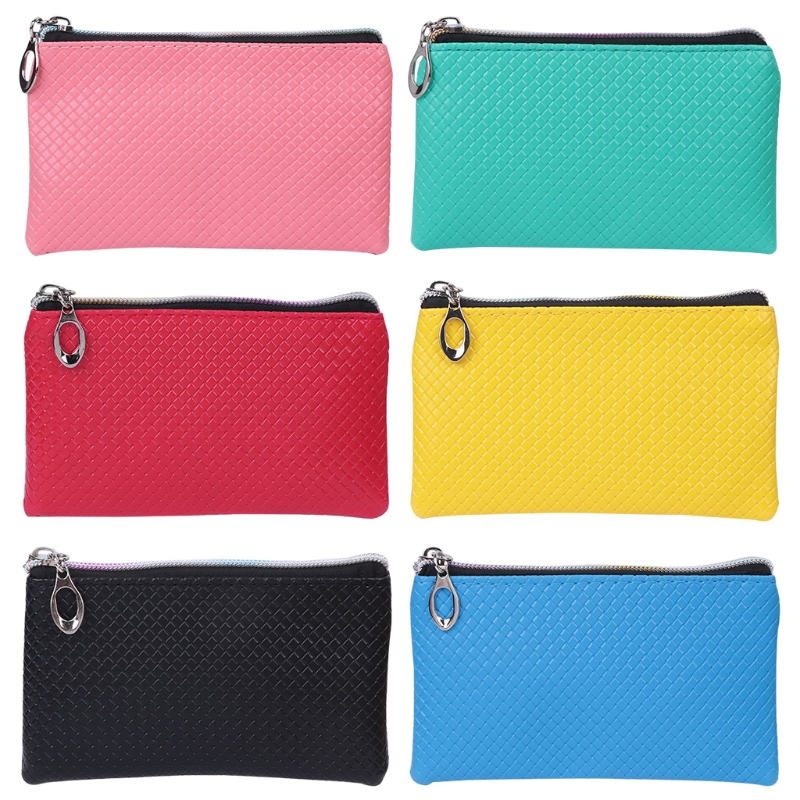 THINKTHENDO Women Men Card Holder Wallet Coin Purse Faux leather Brand Clutch Zipper Fashion Small Change Bag Solid Handbag