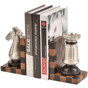 Europa Retro Bookends Criativas Resina Figurinhas Modelo Xadrez Livro Fique Ornamentos Home Office Estudo Estante Decoração Presentes de Aniversário