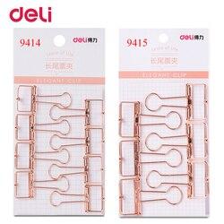 Deli 2 größe rose gold höhlte out design binder clip für büro schule papier organizer schreibwaren versorgung dekorative metall clips
