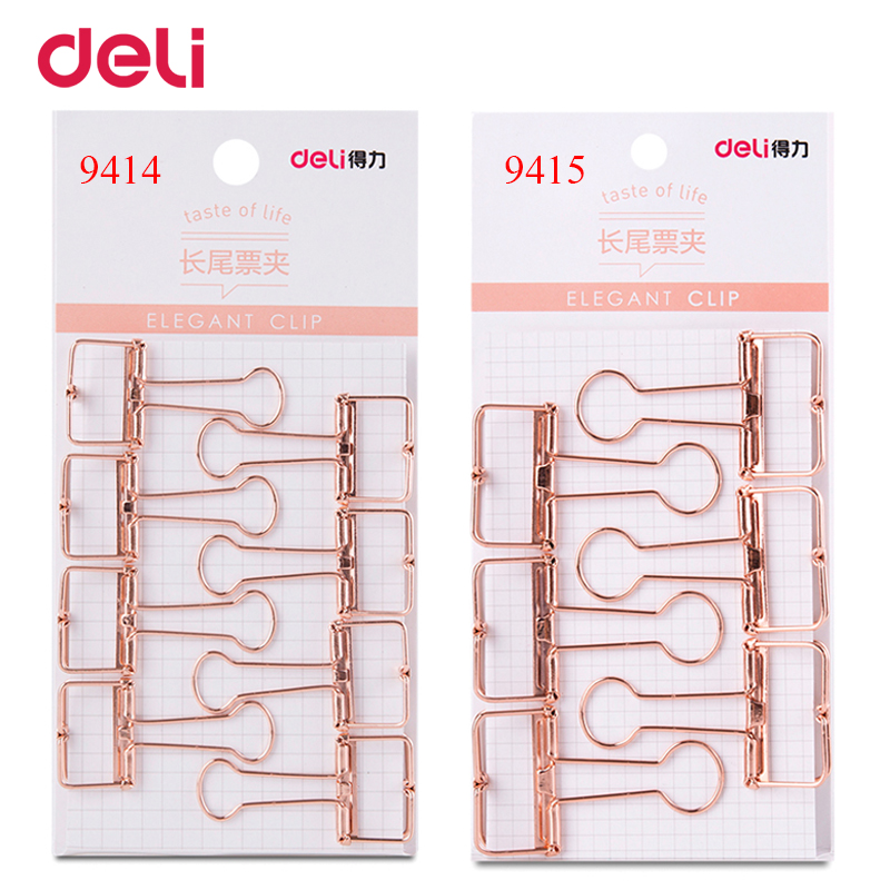 Deli 2 size rose gold hollowed out design binder clip for office school paper organizer stationery supply decorative metal clips цена и фото