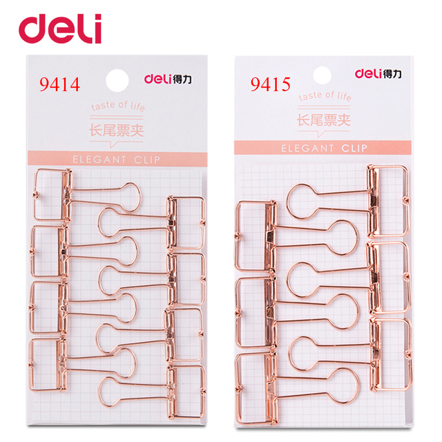 Deli 2 size rose gold hollowed out design binder clip for office school paper organizer stationery supply decorative metal clips