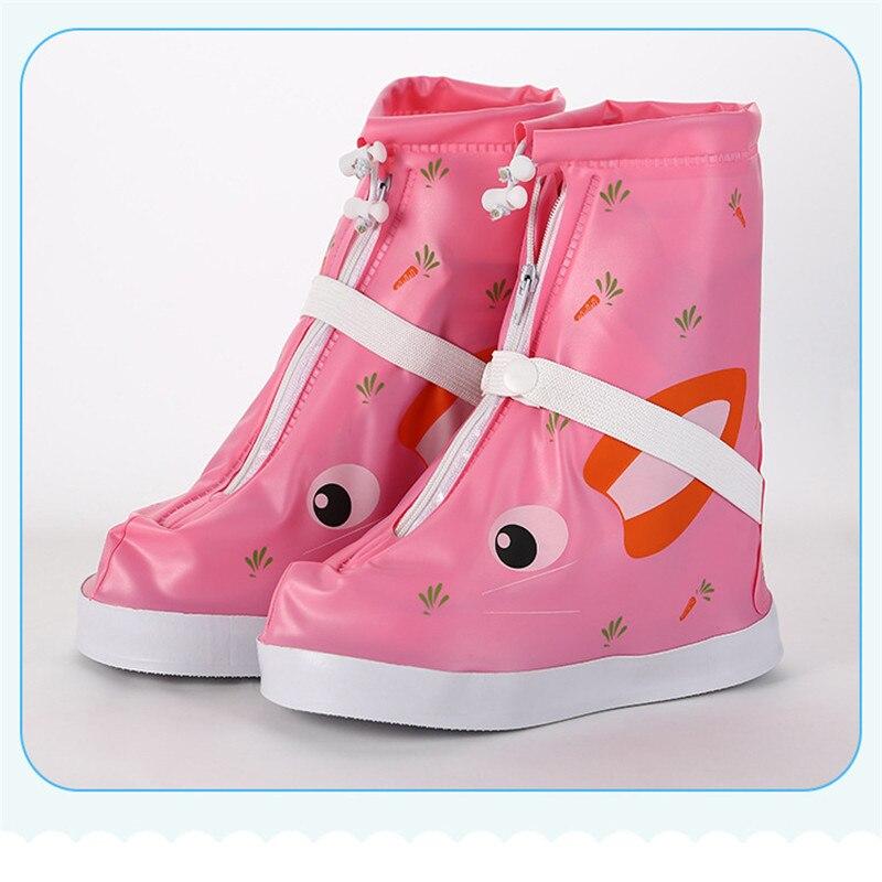 1pair Children Waterproof Protector Shoes Boot Cover Unisex Zipper Rain Shoe Covers High Top Anti Slip Rain Shoes Cases U3 in Shoe Covers from Home Garden