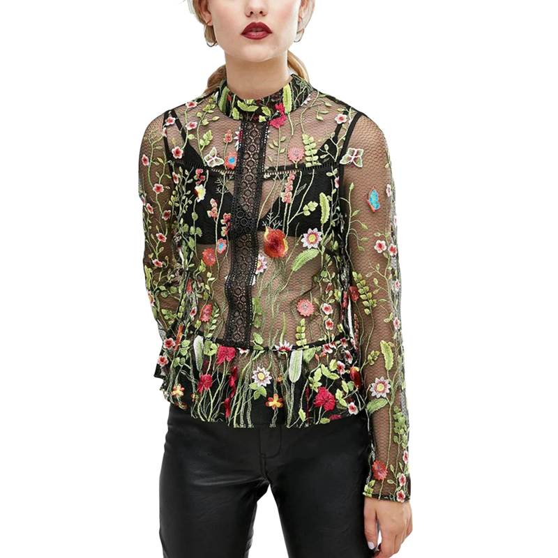 2017 New Women Summer Black Embroidered Rose Applique Sheer Mesh Top Sexy Women's Blouses full Sleeve Sexy Blouse