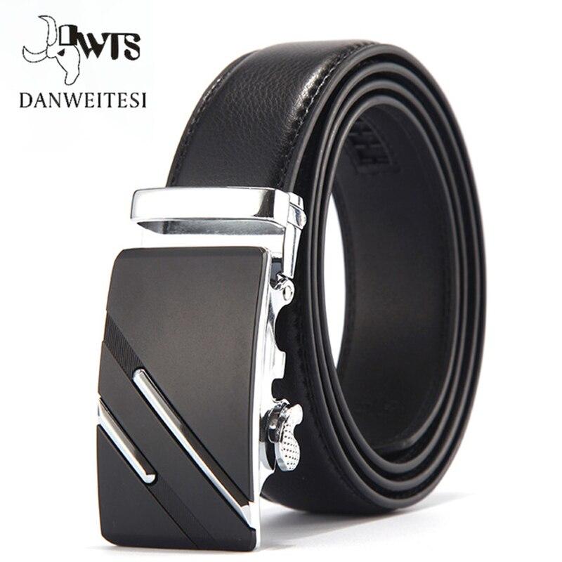 [DWTS]Cow Genuine Leather Belts For Men High Quality Male Brand Automatic Buckle Black Belt Cummerbunds Cinturon Hombre