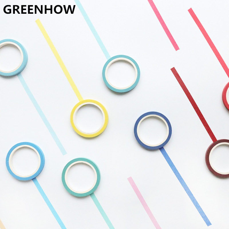 GREENHOW Rainbow Solid Color Japanese Masking Washi Sticky Paper Tape Adhesive Printing DIY Scrapbooking Deco Washi Tape 4008 10pack 10x decorative colorful rainbow sticky paper masking adhesive tape scrapbooking diy 5m 0 7cm