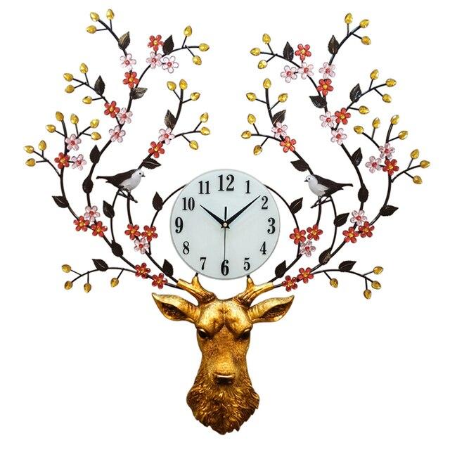 Nordic Artystyczny Jelenie Głowy Antyczne Duży Zegar ścienny Do Salonu Zegarek Nowoczesny Design Kreatywny Zegary ścienne Strona Główna Dekoracje