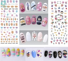 Rocooart DS409-418 2017 Summer Style Bear Flowers Water Transfer Nails Art Sticker Harajuku Nail Wrap Sticker Manicura stickers