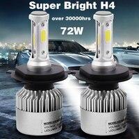 2 pcs 8000LM 72 W Lâmpada LED COB H1 H3 H4 H7 H8 H11 9005 9006 Farol Do Carro Lâmpada 6500 K Luz de Nevoeiro Farol Lâmpada Lâmpada 9-32 V