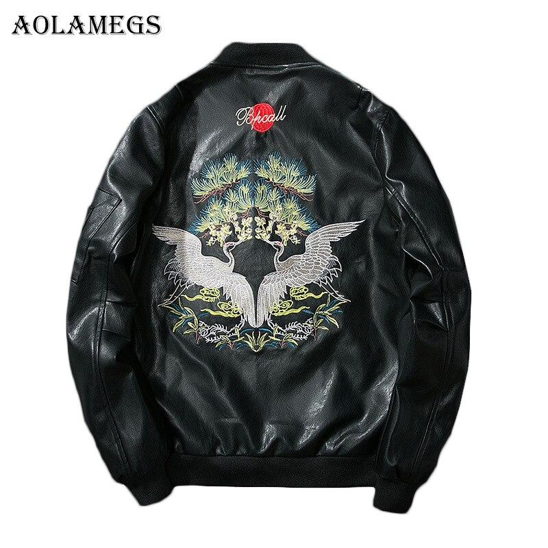 Aolamegs Кожаные куртки Для мужчин Вышивка краны PU Для мужчин куртка ма-1 Стенд воротник модная верхняя одежда Для мужчин пальто Курточка бомбер...