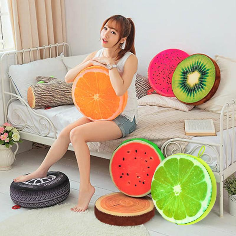 Pillow Chair Back-Cushion Sofa Watermelon Throw Orange Cotton Kiwi PP Lemon 3D 30cm