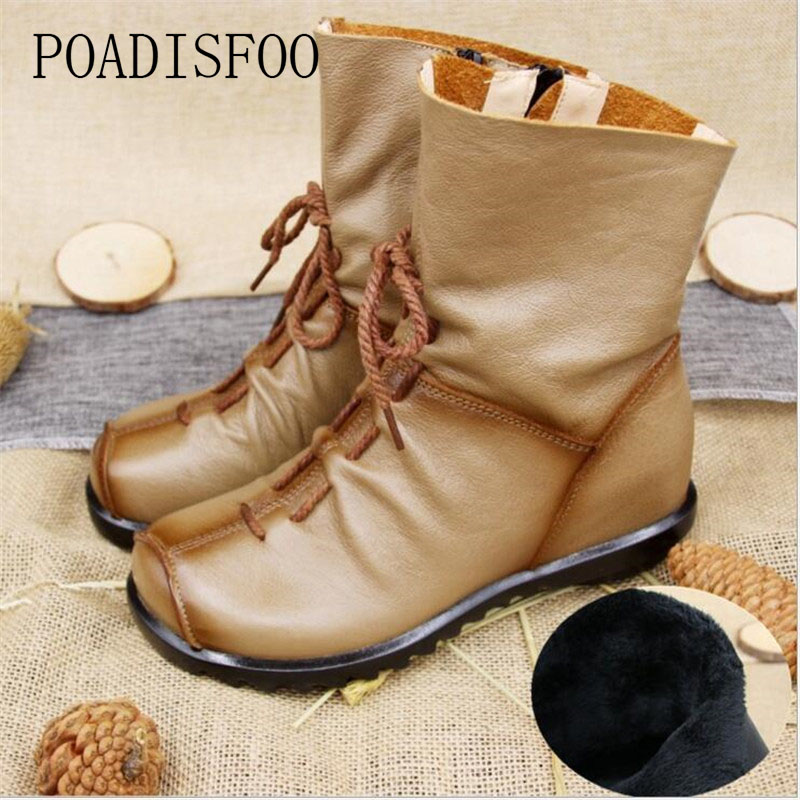 POADISFOO Genuine Leather Women Shoe Martin Boots  Ankle Shoes Vintage Casual Shoes Design Retro Handmade Women Boots .ZXW-1806 women led light shoes casual shoes led luminous boots unisex genuine leather ankle boots women usb charging martin boots 35 46