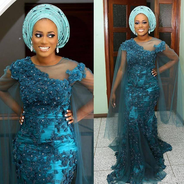 Elegant South Africa Mermaid Evening Dress Plus Size Tulle Sleeves Lace  Appliqued Aso Ebi Nigerian Formal Dress Abendkleider 966f70a5a22f