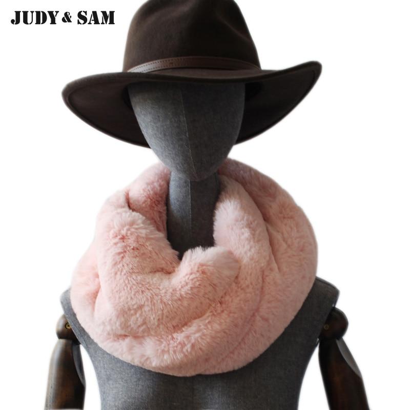 2018 New Faux Rex Rabbit Fur Collar Ring Scarves Winter Fur