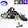 Super Bright 6000 Lumen T6+2R5 UV LED Headlight Headlamp Ultraviolet Head Lamp lampe frontale +Ac/Car/Usb Charger+ 18650 Battery