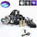 Super Bright 6000 Lumen T6+2R5 UV LED Headlight Headlamp Ultraviolet Head Lamp lampe frontale +Ac/Car/Usb Charger+ 18650 Battery