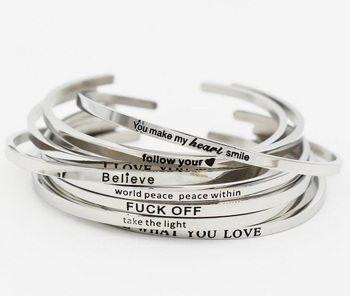 Silver Stainless Steel LIVE WHAT YOU LOVE Cuff Bracelet Bangle Engraved Positive Inspirational Quote Hand Stamped Mantra Bangle bangle