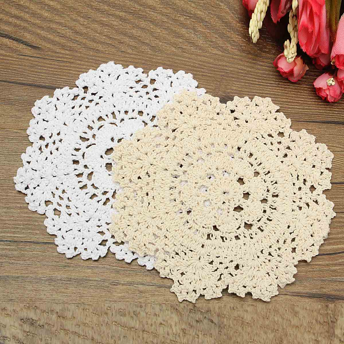 2 Colors Round Table Mat Placemat Hand Crocheted Lace Doilies Home Dining  Table Decorative Textiles Fabrics Cotton Yarn Coasters In Mats U0026 Pads From  Home ...