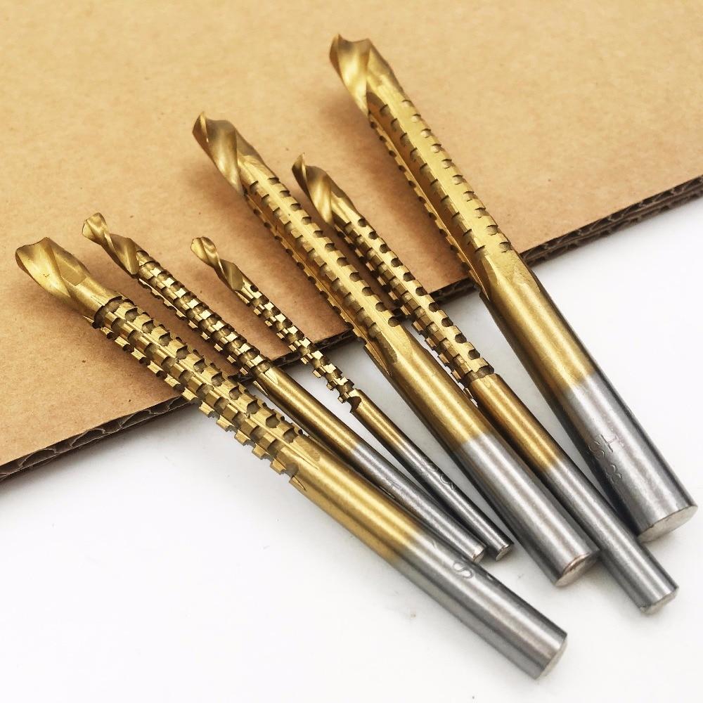 Brocas helicoidales 6 piezas Nuevo HSS profesional con revestimiento de titanio Taladro y sierra Carpintero Carpintería Plástico Metal Ranurado de orificios