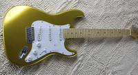 Gold electric guitar, maple fingerboard, white shield, SSS pickup, can be customized as required, free delivery.