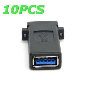 10pcs/lot  10pcs/bag  USB 3.0 Female to Female Extension Exteder Coupler Adapter with Panel Mount Holes