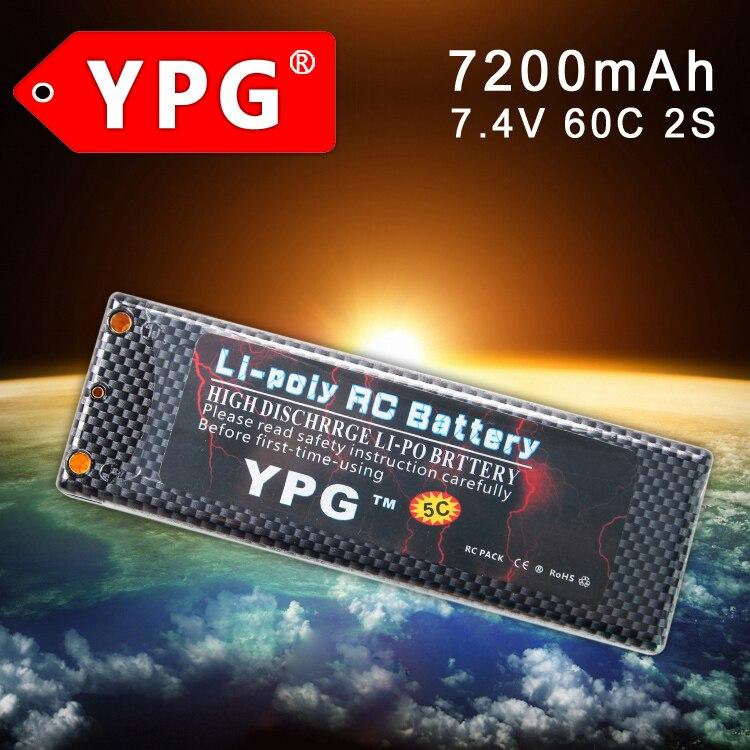 все цены на YPG 7.4V 7200mAH  60C 2S Lipo Li-poly Battery For RC Model Car Boat Truck Buggy онлайн
