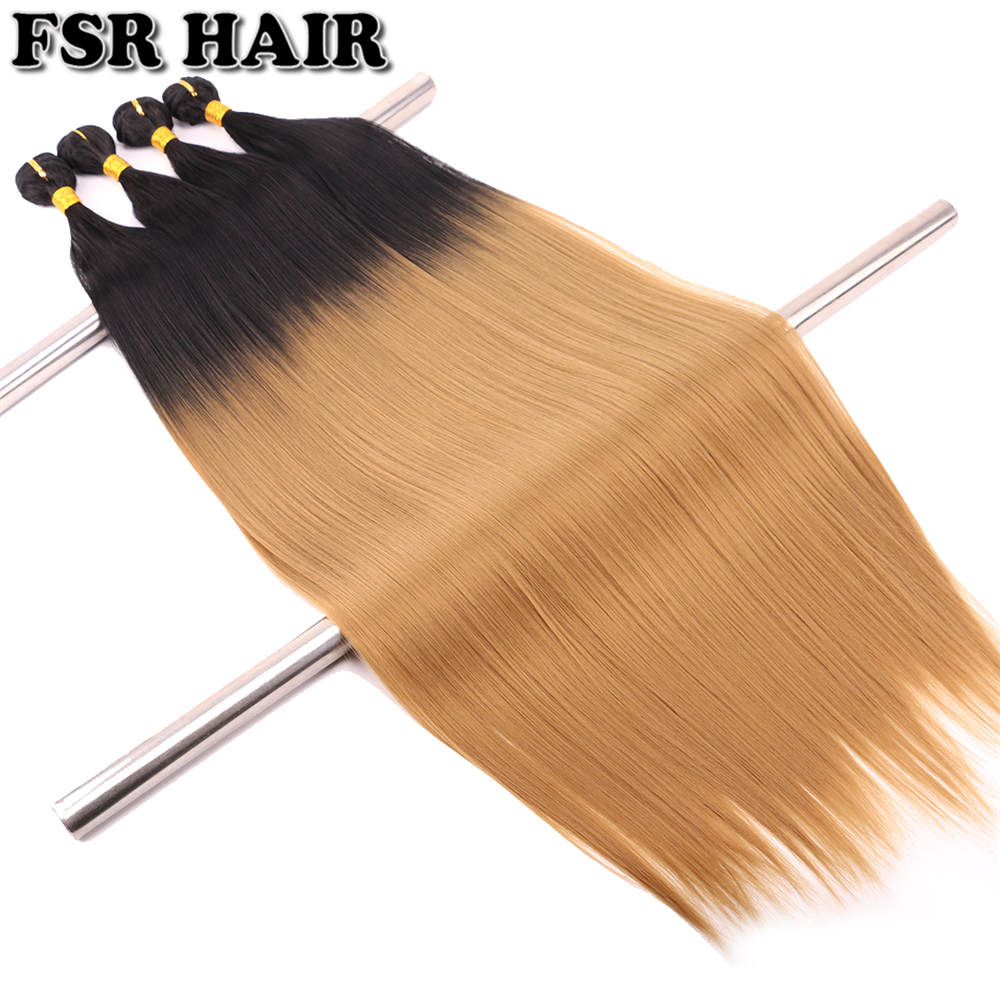 Yaki Straight Weave Hair-Bundles Synthetic-Hair One-Piece Ombre 30inch Women -T1b/27