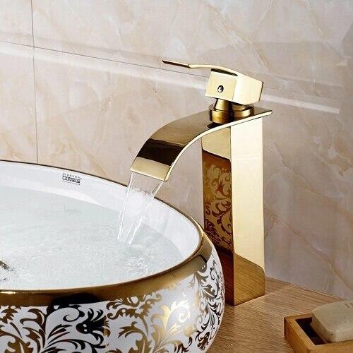 Высокий золотой смеситель для ванной комнаты Водопад смеситель кран Золотой водопад кран золотой кран раковина смеситель