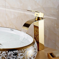 High Golden bathroom mixer waterfall basin mixer tap golden waterfall tap gold tap sink mixer