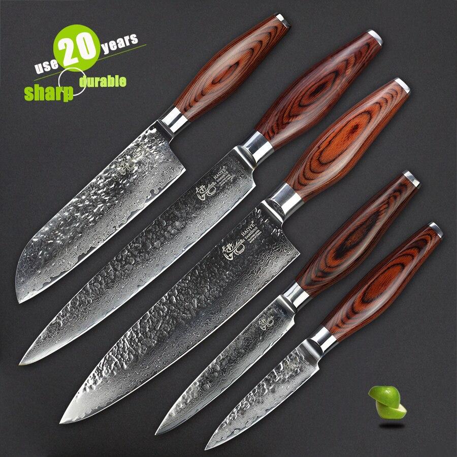 Haoye conjunto vg10 damasco facas de cozinha 5 peça martelo em aço forjado qualidade sharp faca ferramenta multiuso talheres de presente de luxo