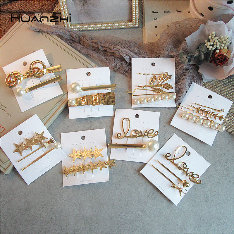 HZ 2019 New Metal Geometric Hairpins Minimalist Pearl Letter Hair Clip Barrettes   Headwear   Hair Grip Hair Accessories For Women