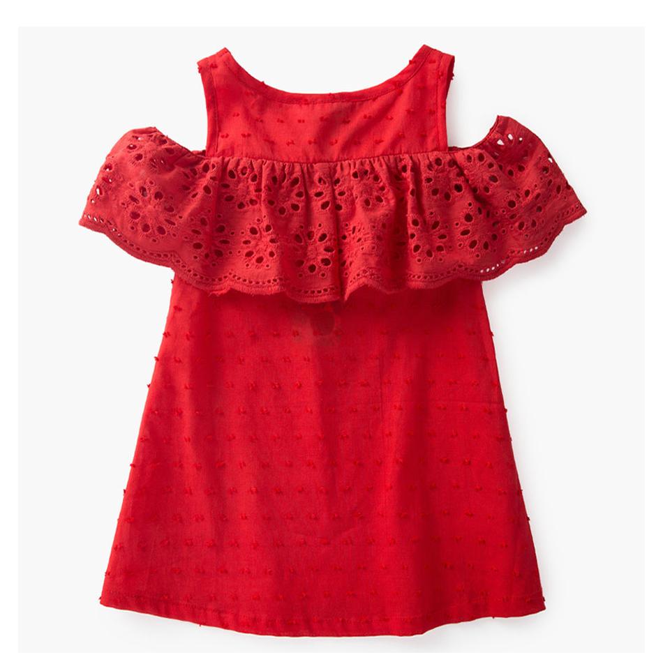 HTB1fEvfSpXXXXbpXXXXq6xXFXXX0 - Little J 100% Cotton Girls Red Off Shoulder Dress Toddler Hollow Lace Dresses Cute Casual Children Summer Dress Kids Clothes