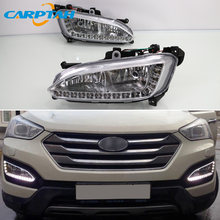 LED Daytime Running Light For Hyundai Santa Fe IX45 2013-2015 Plug&Play Waterproof 12V Fog Lamp Decoration Bumper Light LED DRL(China)