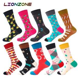 Image 4 - Lionzone 10 ペア/ロットデザイン高品質コットンクリエイティブカラフルなブランドカジュアルメンズロングハッピーソックスおかしいギフトボックス + 送料ギフト