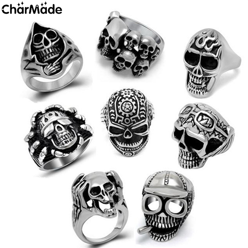 2017 new fashion goth punk jewelry grim reaper skull rings for man stainless steel biker ring men jewelry cool male anel r251 - Goth Wedding Rings