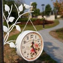 Y128 Модные Винтажные цифровые настенные часы, европейский стиль, садовые винтажные металлические ремесленные двойные тарелки, настенные часы H-72