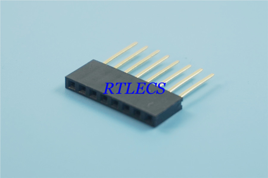 0.100 In 1x8 P 8 Pin 2.54 Mm Female Header Single Row Vertical Through Hole Tail Length 11 Mm For PC/104 Application