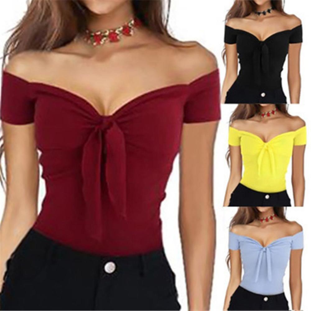 Yfashion Women Fashion Sexy Boat Neck Top Women T-shirts Slim Tie T-Shirt Summer All-match Charming Women Tops