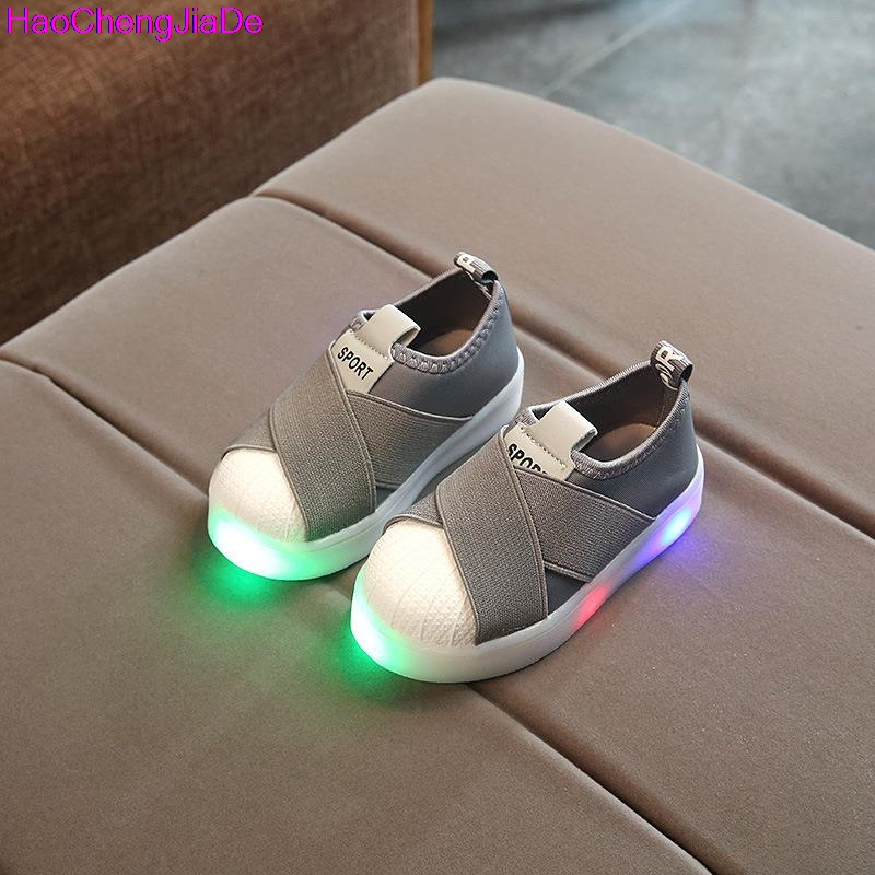 HaoChengJiaDe Kids Shoes With Light Boys Shoes 2017 Children Canvas Sport Led Girls Princess Shoes Baby Boys Sneakers Size 26-30